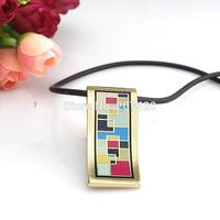 Classical Colorful Tetris Design Enamel Jewelry Pendant Necklace,1pcs/pack