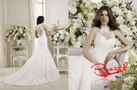 RBC 648 High Quality High Neck Appliques Lace Wedding Dresses 2014 New Arrival Mermaid Robe De Mariage