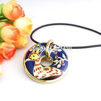 Newest Round Blue Peacock Design Enamel Jewelry Pendant Necklace,1pcs/pack