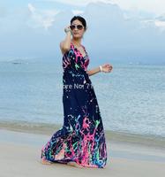 2015 summer sexy women long  boho dress beach maxi dresses plus size flower print dress for women vestidos longo estampado 5xl