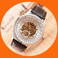 Classic orkina Tourbillion Black  Steampunk Luxury Elegant Genuine Leather Strap Business Mens Mechanical Watch