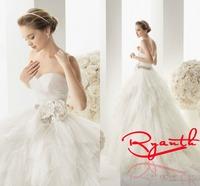 RBC 646 Fancy Sweetheart Ruched Organza Wedding Dresses 2014 New Crystal Belt Flowers Bridal Gown Plus Size Wedding Dress