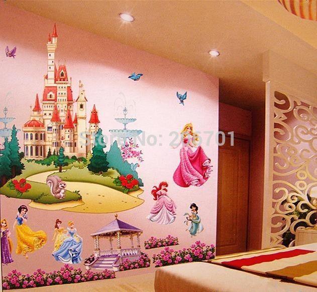 Prinsessen slaapkamer : kinderen slaapkamer 3d prinsessen kasteel muur ...