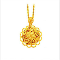 Hot real 24k gold plated copper material flowers charms  Cool Pendant women gold  jewelry free shipping