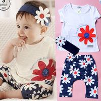 3 pcs Baby Girls Brand Clothing Sets(T-shirt+romper+headband) Sun Flowers Pattern bebe roupas