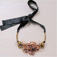 2014 Newest arrive marni brand women's Luxury flower pendant ribbon adjustment necklace designer Statement necklace