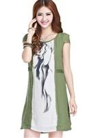 Free Shipping Ethnic Style Summer Big Size Linen Dress ,  Short Sleeve , Wholesale Clothing Women , S-XXXL, JY-LY3217#