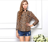 Exclusive!! S-XL,Hot Sale 2014 New Fashion Women Star Print Leopard Print Chiffon Blouse PLUS SIZE Free shipping