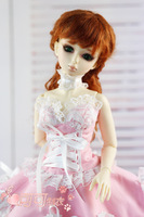 Free shipping 1/3 1/4 BJD doll clothes romantic pink dress