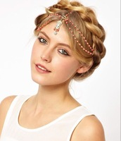 Free shipping! HA657 Fashion vintage orange color beaded headband tassel  hair chain hair accessories  wholesale