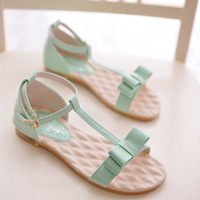 2014 bow young girl shoes summer sweet shoes sweet flat sandals female