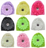 10 pieces / lot 2014 New 100% Handmade Rhinestone Peony Flower Crochet Baby Hats & Knitted Beanies 0080