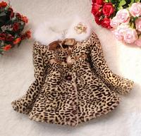 Hot Classic Baby Toddler Faux Fur Leopard Coat  Girls WinterWarm Jacket Snowsuit Free shipping