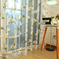 Rustic quality big curtain window screening customize finished products new arrival rustic flower curtain yarn