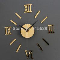 DIY Wall Clock 3D Mirror Roman Font Stickers Hour Modern Art Watches Gold Silver