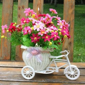 Пластик белый трехколесный велосипед дизайн цветочные корзины для хранения ну вечеринку украшения свадебные украшения бесплатная доставка