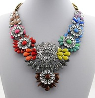 2014 New Arrival Luxury Shourouk Necklace Choker Statement Necklaces Crystal Flower Necklaces & Pendants 8838