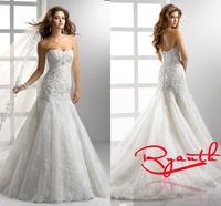 RBC 656 Modest Mermaid Wedding Dresses 2014 New Arrival Appliques Plus Size Wedding Dress Vestido Noiva