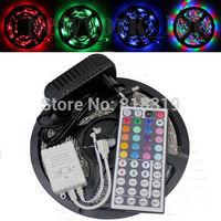 NON-Waterproof 3528 RGB Led Strip Flexible Light 60led/m 5M 300 LED SMD DC 12V+ 44Key IR Remote Control + 2A Power Supply