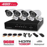Home 4CH 960H D1 Security Camera System VGA HDMI Output DIY Video Surveillance Kit