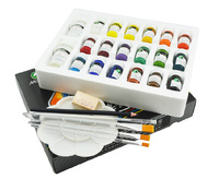 2014 New hot Marie's textile fibers pigments Set 18-color pigments Paints suit painted shoes hook line pen +  brush + palette