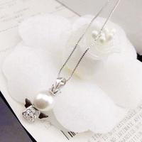 925 silver Pearl necklace cute little angel Micro inlay zircon