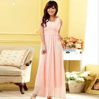 Free Shipping Uncommon Fashion Pink Chiffon Evening Dress New 2014