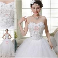 Top quality Strapless Heart shaped Diamond Full Long Maxi Tube flower Bridal Gown Wedding Dress Custom made WH62209
