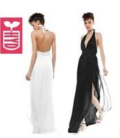 Factory direct 2014 hang a neck Evening floor-length dress Womens elegant Deep V neck Maxi backless long dress,high waist
