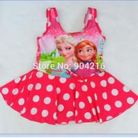 Hot Movie Girls Frozen Queen Elsa Anna Swim Polka Dots Skirt Bathing Suit Swimwear Swimming Costume