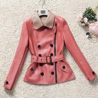 New Genuine Leather Jacket Women Fashion Brand Real Sheepskin Leather motocycle coat jacket DHL/EMS Free Shipping FP284