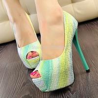 2014 New Style sweet princess women pumps Waterproof 14cm High Heels Women's Shoes rainbow colors summer shoes 3199