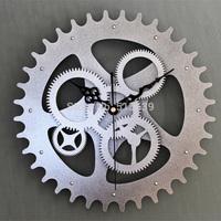 Original Creative Metallic Europea Gear Wall Clock Home Decor Retro Time Watches