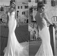 2015 Galia Lahav Vintage Mermaid Wedding Dresses Lace Sheer Bridal Gowns Spaghetti Sweetheart Backless Custom Made Bridal Gowns
