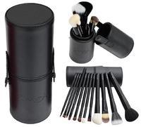 2014 12pcs/set Pro Cosmetic Makeup Brush Set Make up Tool + Leather Cup Holder Kits Black #001