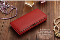 New Fashion Genuine Leather Women Wallet Solid Embossed Litchi Grain Hasp Wallets Ladies' Long Clutches Change Purse Card Holder
