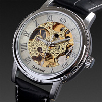 Elegant tourbillion golden movement leather strap watch luxury mens automatic watches mechanical military gift free shipping