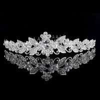 New Design Lady Silver Plated Austria Crystal Wedding Flower Tiara Combs Accessary