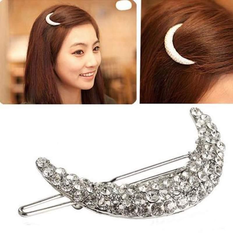 Women Girl Fashion Chic Crystal Rhinestone Moon Hair Clip Bang Clip Hairpin(China (Mainland))