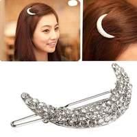 Women Girl Fashion Chic Crystal Rhinestone Moon Hair Clip Bang Clip Hairpin