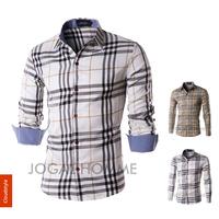 2014 spring men shirts autumn men's fashion slim fit  long sleeve plaid shirt men casual shirts high quality 2colors M-XXL