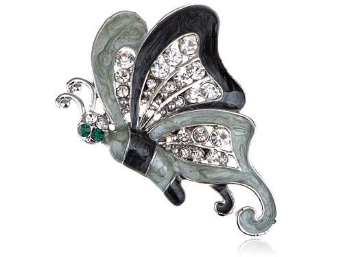 Grey Enamel Wing Clear Crystal Rhinestone Green Eye Butterfly Pin Broach Brooch Mix Item