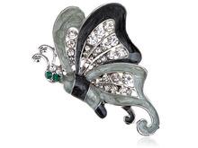 Grey Enamel Wing Clear Crystal Rhinestone Green Eye Butterfly Pin Broach Brooch (Mix Item)