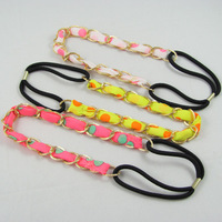 Metal Chain Chiffon Tie Party chamo hairband  wrap  headband  hair accessory