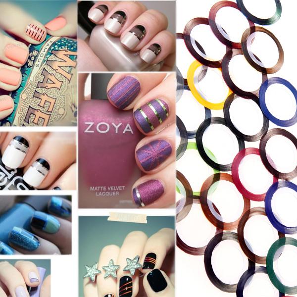 Fashion 30 Mix Color Metallic Yarn Line Rolls Striping Tape Nail Art Beauty Decoration Sticker(China (Mainland))