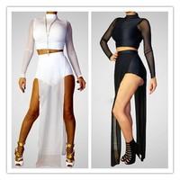 2014 New Street Style 2 piece set women skirt top Casual White/Black Mesh Panel Short Pant Set Clothing Sets Drop Shipping