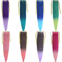 Hot sale 1pcs/lot Girl's Colorful STRAIGHT Long  Ponytail Clip in Hair Extensions Colorful  AP26