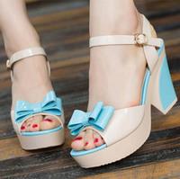 2014 women's wedges sandals summer sweet flower platform thick high-heeled open toe women's shoes