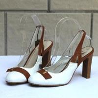 Fashion color block decoration high-heeled genuine leather cowhide women's shoes single shoes women's sandals b37-2