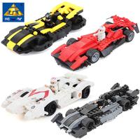 KAZI Building Blocks Toy Sport Speed Power Racer Car 4 Sets/lot 3D DIY Construction Educational Toy for Kid Gift Model Building